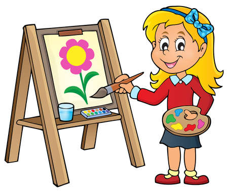 Girl painting on canvas 1 - vector illustration. Illustration