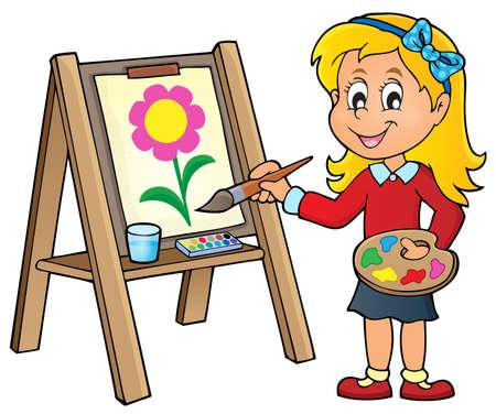 Girl painting on canvas 1 - vector illustration. Stock Illustratie