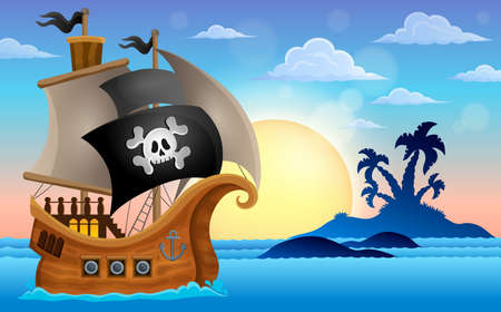 Pirate ship near small island 4 - vector illustration. Ilustrace