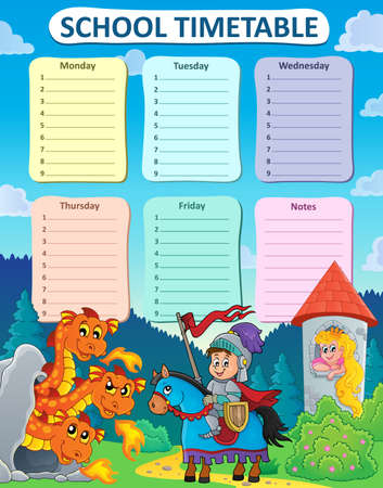 weekly: Weekly school timetable thematics 9 - vector illustration.