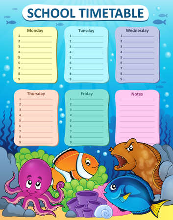 weekly: Weekly school timetable thematics 1 - vector illustration.