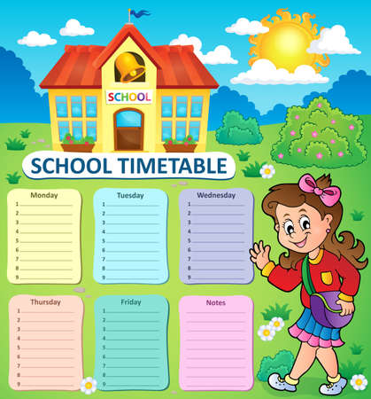 weekly: Weekly school timetable topic 3 - vector illustration.