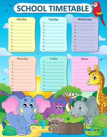 time table: Weekly school timetable thematics 4 - vector illustration. Illustration