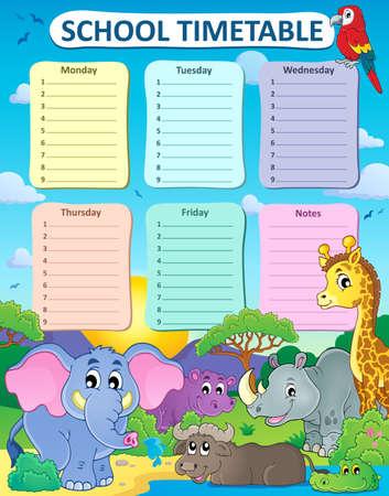 weekly: Weekly school timetable thematics 4 - vector illustration. Illustration