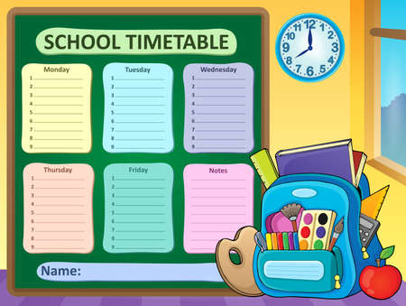 classes schedule: Weekly school timetable composition 6 - vector illustration. Illustration