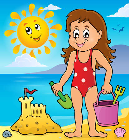 children sandcastle: Girl playing on beach image 1 - vector illustration.