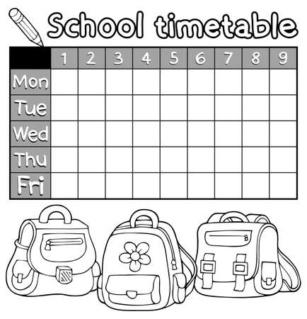 timetable: Coloring book timetable topic Illustration