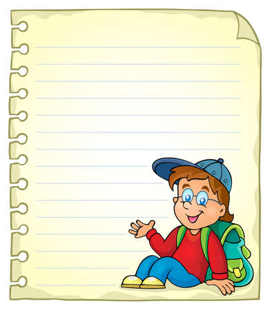 schoolboy: Notebook page with schoolboy Illustration