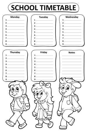 cronograma: tema de horario escolar blanco y negro