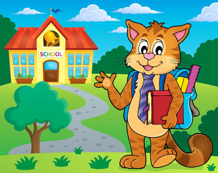 footpath: School cat theme Illustration
