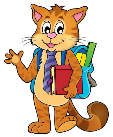 backpack: School cat theme Illustration