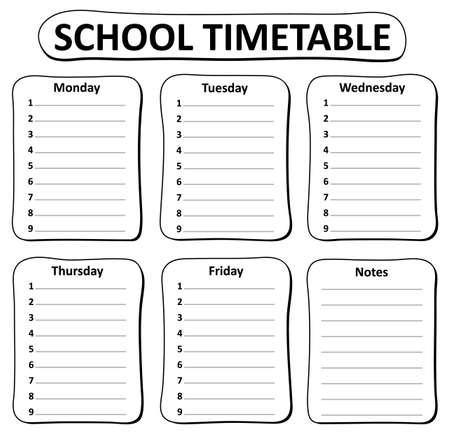 cronograma: tema blanco y negro calendario escolar 1 - ilustración vectorial eps10. Vectores