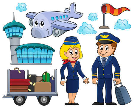 captain cap: Aviation thematic set Illustration