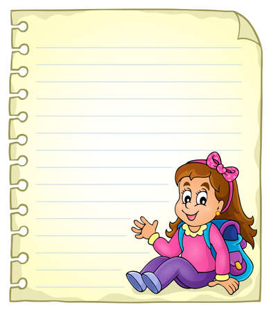 notebook page: Notebook page with schoolgirl Illustration
