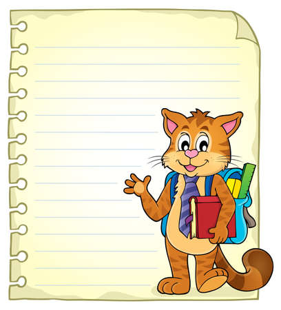 school notebook: Notebook page with school cat
