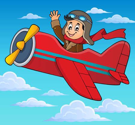 midair: Pilot in retro airplane theme Illustration