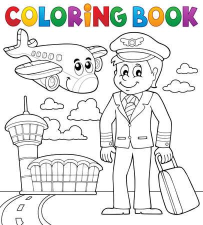 el tema de la aviación libro para colorear Ilustración de vector