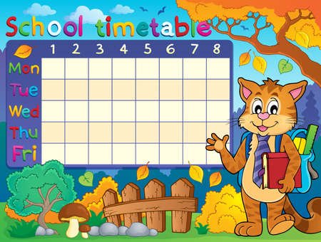 School timetable with cat