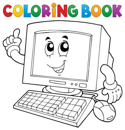 crt: Coloring book computer thematics Illustration