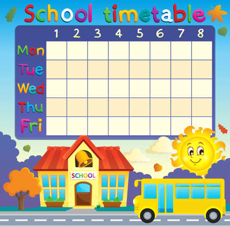 bus anglais: calendrier scolaire avec l'école et bus