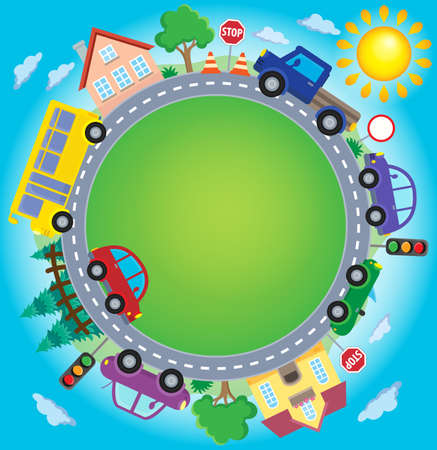 Circle with cars theme Illustration