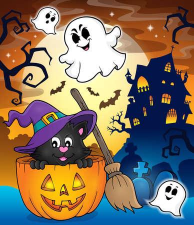 tema di Halloween cat