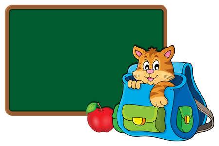 Kot w tematyce schoolbag