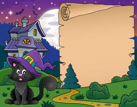 Halloween parchment with cat and house Illustration
