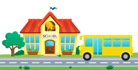 elementary schools: School and bus Illustration