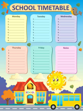 timetable: Weekly school timetable Illustration