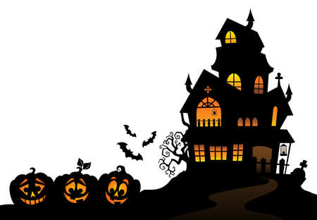 Haunted huis silhouet Stock Illustratie
