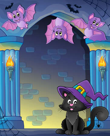 artwork: Wall alcove with Halloween cat and bats Illustration