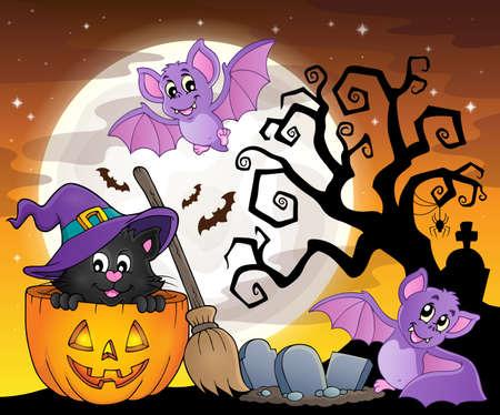 Halloween cat theme Illustration
