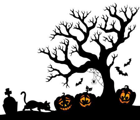 Illustration - Halloween-Konzept Vorlage Scary Friedhof Toter Baum ...