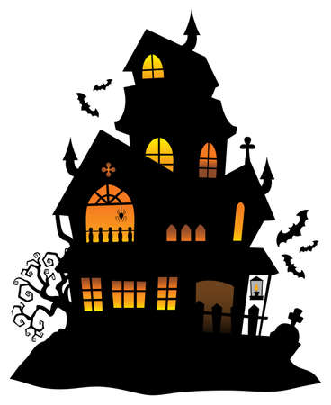 Haunted house silhouette 版權商用圖片 - 61009157