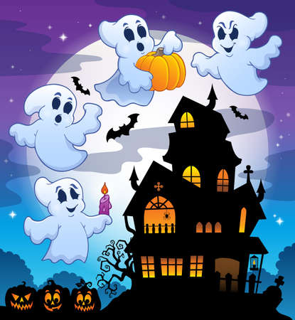 Haunted house silhouette Vector Illustration