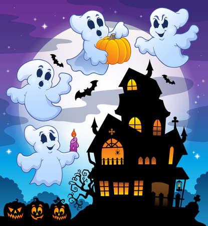 Haunted huis silhouet Vector Illustratie