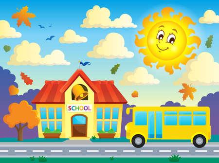 transporte escolar: La escuela y autobús Vectores
