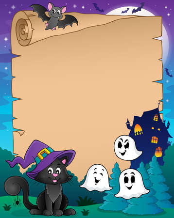 Pergamena con il gatto di Halloween