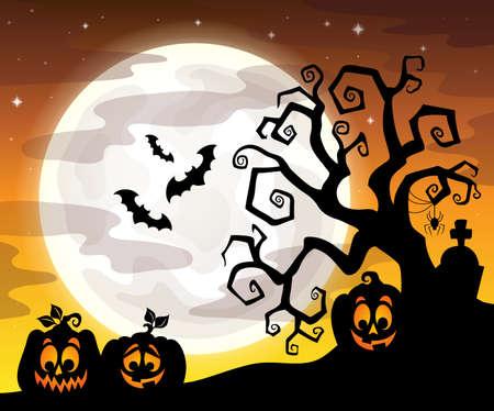 artwork: Halloween tree silhouette