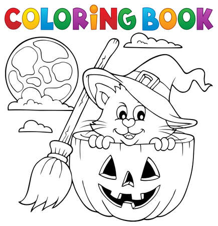 Coloring book Halloween cat Stock Vector - 61009477