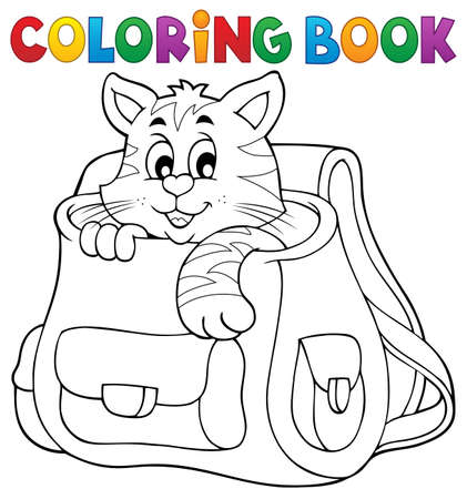 schoolbag: Coloring book cat in schoolbag Illustration