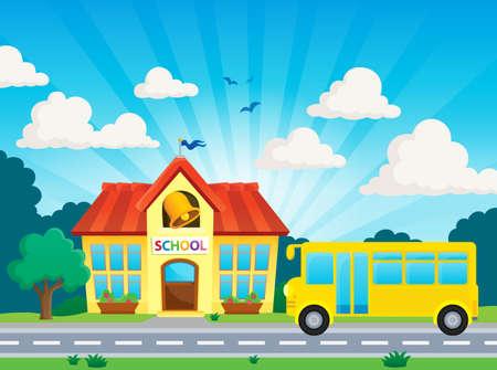 transporte escolar: La escuela y autobús tema