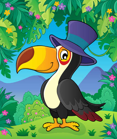 toucan: Toucan with hat theme Illustration