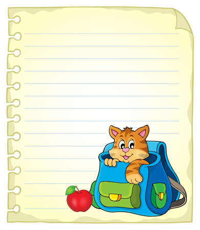 schoolbag: Notebook page with cat in schoolbag