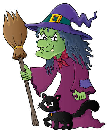 neckscarf: Witch with cat and broom theme