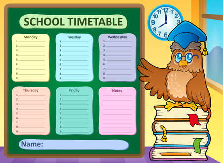 classes schedule: Weekly school timetable Illustration