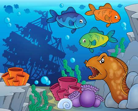 shipwreck: Underwater ocean fauna