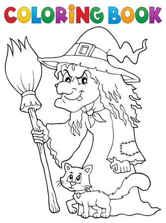 neckscarf: Coloring book witch with cat and broom