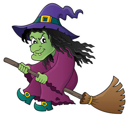 flying hat: Witch on broom theme